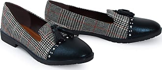Shelikes Womens Ladies Low Wedge Heel Slip On Tartan Herringbone Metallic Brogue Loafers Shoes[Black,3 UK]