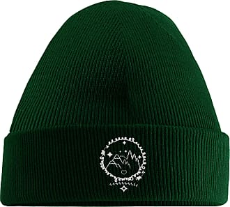 HippoWarehouse Magical Mountains Embroidered Beanie Hat Bottle Green