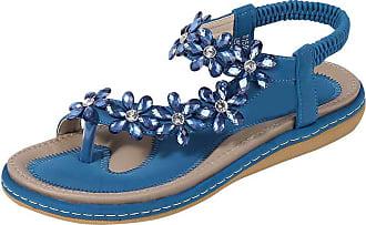 Zhuhaixmy Deylaying Womens Summer Flat Sandals Bohemia Elastic Slingbacks Flip Flops Shining Floral Rhinestones Slippers Blue