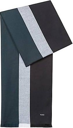 f2a46f8f0ca HUGO BOSS Écharpe à franges en coton mélangé à rayures contrastantes59.95