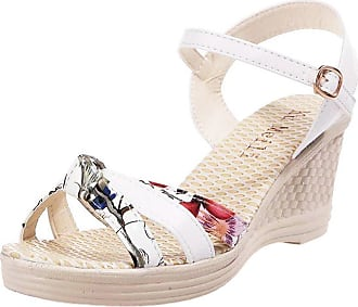 QUINTRA Ladies Women Wedges Shoes Summer Sandals Platform Toe High-Heeled Shoes Blue White Pink (4.5 UK, White)
