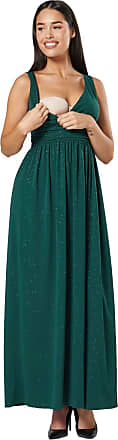 Happy Mama Womens Maternity Nursing Sparkly Sleeveless Maxi Dress 1144 (Dark Green, UK 12, L)