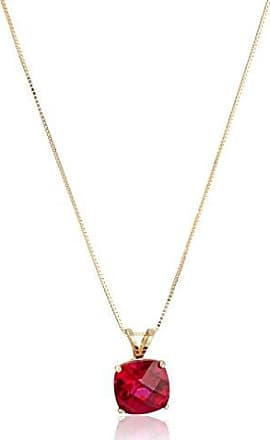 Amazon Collection 14k Yellow Gold Cushion Checkerboard Created Ruby Pendant Necklace (8mm)