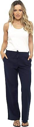 Tom Franks Linen Blend Full Length Trousers with Ribbed Waist (20, Dark Navy)