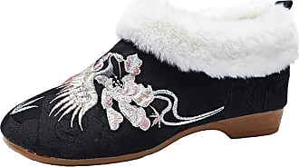 ICEGREY Womens Chinese Embroidered Boot Wedge Loafer Shoes Black 8.5