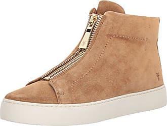 Frye Womens Lena Zip HIGH Fashion Sneaker, Tan Soft Oiled Suede, 5.5 M US