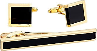 Stacy Adams Stacy Adams Mens Rectangle with 3 Jet Acrylic Inlays Cuff Link and Tie Bar Set, Silver, One Size