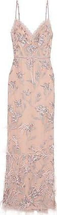 Marchesa Marchesa Notte Woman Feather-embellished Embroidered Tulle Gown Blush Size 6