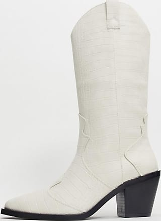 Stradivarius knee high western boots in white