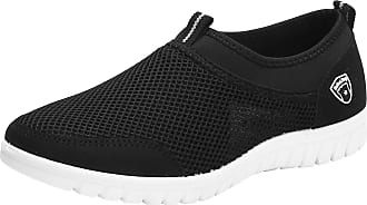 Jamron Mens Casual Slip-on Breathable Mesh Multisport Trainers Fitness Shoes Black SN01063 UK7