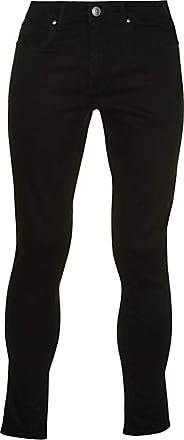 Firetrap Mens Skinny Jeans Tonal Stitching Denim Trousers Casual Pants Bottoms Black 30 L30