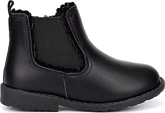 US Brass Girls School Boots with Side Zip Fastening and Textile Lining Black 12 UK Child