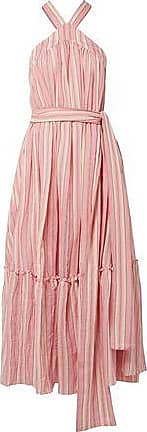 Three Graces London Three Graces London Woman Seton Striped Crinkled Cotton-voile Maxi Dress Baby Pink Size 14