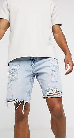 Bershka Schmale Jeansshorts in heller Waschung-Blau