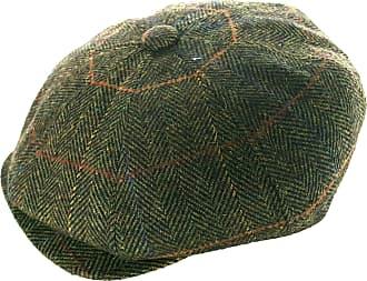 GFM Wool Baker Boy Hat - 8 Panel Newsboy Cap Olive Herringbone (JTN-CN102-59 cm)