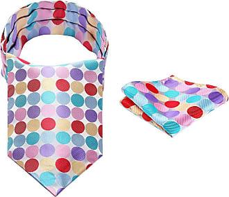 Hisdern Mens Polka Dot Ascot Party Handkerchief Jacquard Woven Cravat & Pocket Square Set One Size