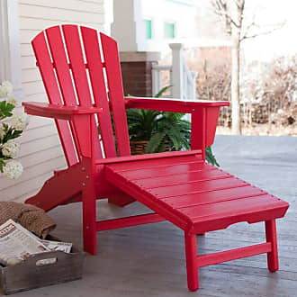 POLYWOOD Outdoor POLYWOOD Recycled Plastic Big Daddy Adirondack Chair with Pull-out Ottoman Pacific Blue - CXHNA15PB