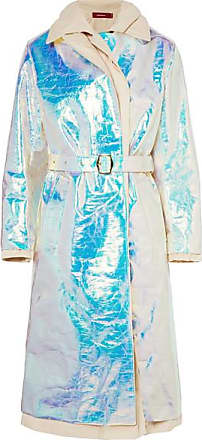 Sies Marjan Devin Layered Iridescent Coated-shell And Cotton-canvas Trench Coat - Platinum