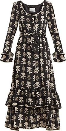 Athena Procopiou Floral-print Silk Dress - Womens - Black White