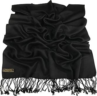 CJ Apparel Black Solid Colour Design Nepalese Tassels Shawl Wrap Stole Throw Pashmina CJ Apparel NEW