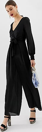 River Island jumpsuit with shirred detail in black