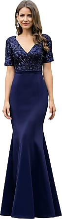 Ever-pretty Womens Short Sleeves V Neck Mermaid Elegant Empire with Sequins Evening Party Prom Dresses Navy Blue 12UK