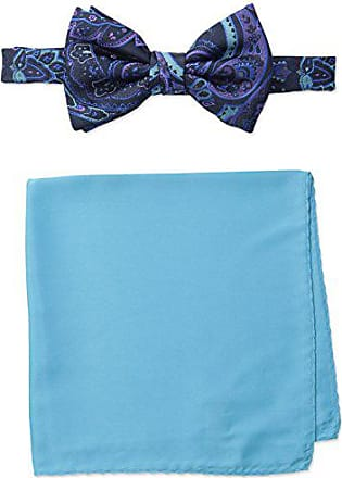 Steve Harvey Mens Paisley Woven Bowtie and Solid Pocket Square, Navy, One Size