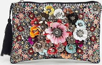 Glamorous floral embellished clutch bag-Black