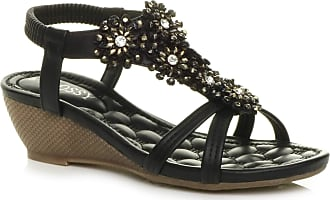 WOMENS LADIES MID WEDGE DIAMANTE FLOWER T-BAR STRAPPY PARTY SANDALS SIZE 4 37