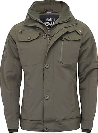 Crosshatch 2k18Oct Mens Jacket Double Zipped Padded Coat Funnel Neck Army Style Jacket[Thyme Army,XL]