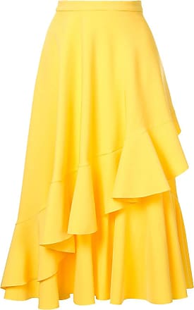 Ingie Paris Saia midi com babados - Amarelo