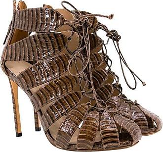 dfd4b6f07a0d Francesco Russo Brown Croc Effect Lace Up Heels