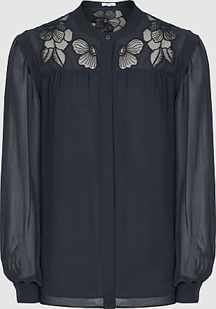 Reiss Emily - Lace Detailed Semi Sheer Blouse in Navy, Womens, Size 16