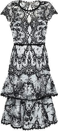 a44d759c395 Marchesa Marchesa Notte Woman Tiered Embroidered Lace Dress Black Size 10
