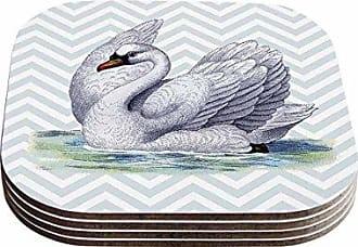 KESS InHouse Suzanne CarterVintage Swan Bird Chevron Coasters (Set of 4), 4 x 4, Multicolor