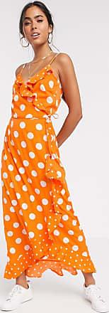 Vero Moda frill maxi dress in orange polka dot-Multi