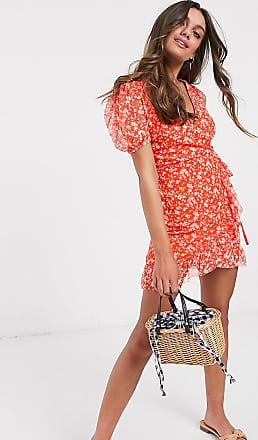 Miss Selfridge wrap dress in red floral