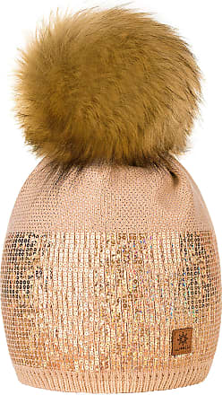 4sold Womens Ladies Winter Hat Knitted Beanie Large Pom Pom Cap Ski Snowboard Hats Bobble Small Crystals Sequins (Beige)