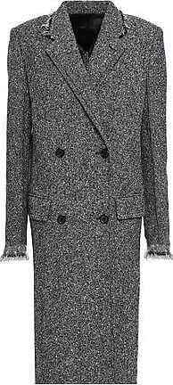Helmut Lang Helmut Lang Woman Double-breasted Wool-blend Tweed Coat Anthracite Size M