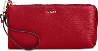 DKNY Womens Bryant Zip Leather Wristlet Pouch Wallet Red