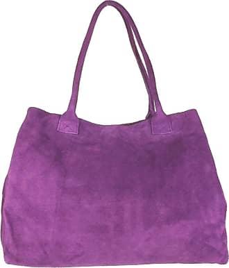 Girly HandBags Girly HandBags Expandable Italian Suede Leather Shoulder Bag (Light Purple)