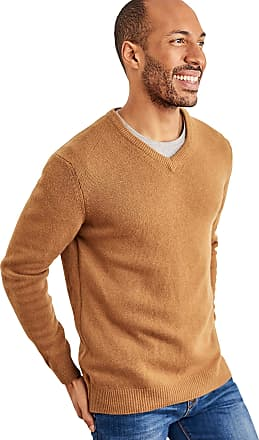 WoolOvers Mens Lambswool V-Neck Jumper Tawny, S
