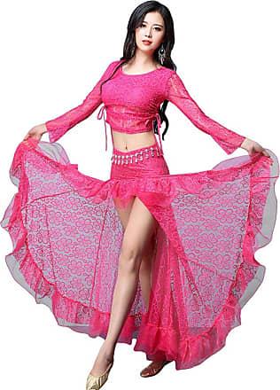 YiJee Women Lace Dancing Wear Belly Dance Set Performance Dancewear Rose M
