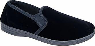 Zedzzz Mens Navy Blue Velour Comfortable Warm Slippers Sizes 7 8 9 10 11 12 13 14 (10)