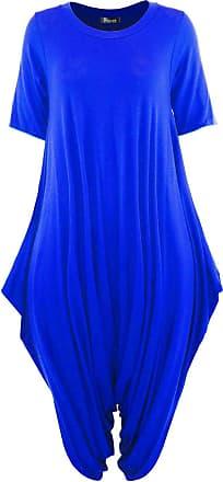 Top Fashion18 Women Short Sleeve Baggy Legenlook Hareem Jumpsuit Dress Royal Blue