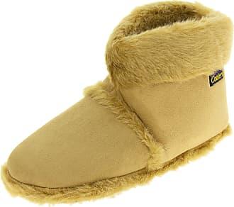 Footwear Studio Mens Coolersbeige Faux Fur Lined Faux Suede Boot Slippers UK 9-10