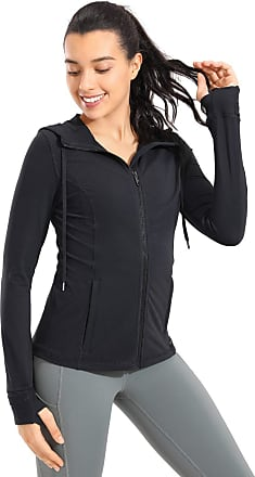 CRZ YOGA Womens Matte Brushed Full Zip Hoodie Jacket Sportswear Hooded Workout Jacket with Zip Pockets Black 10