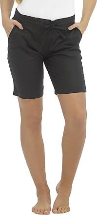 Tom Franks Ladies Linen Blend Pull On Ribbed Waist Shorts Black 12