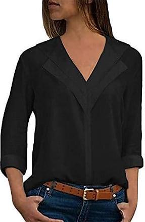 5deba3033a517 ORANDESIGNE Bluse v Ausschnitt Damen Einfarbig Casual Shirt Bluse Elegant  Freizeit V-Ausschnitt Chiffon Tunika