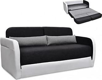 Venta-Unica.com Sofá cama 2 plazas de tela y piel sintética VILO - Blanco y gris antracita